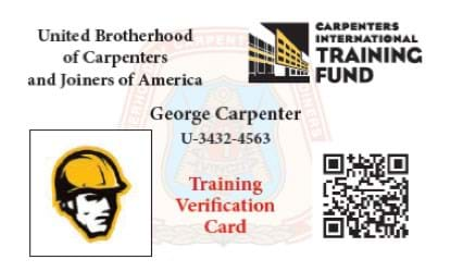 example of a training verification card